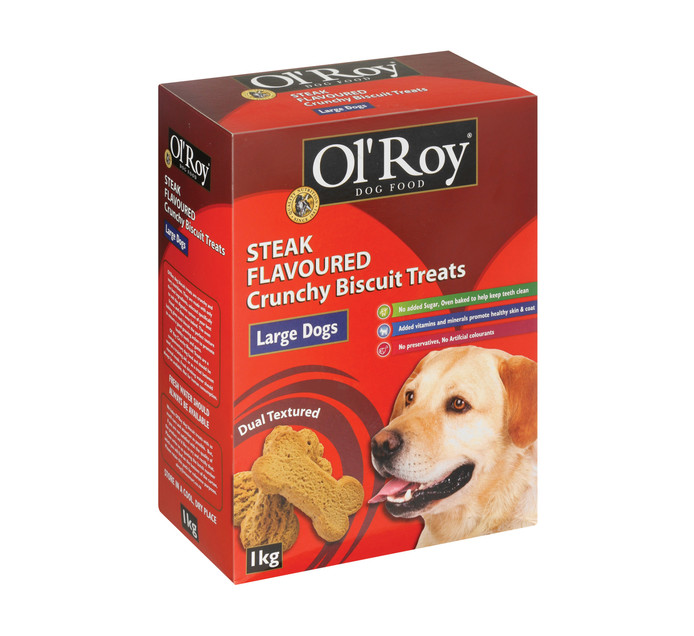 Ol'roy Dog Biscuits Steak Large (1 x 1kg)