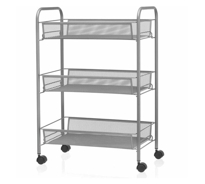 3-Tier Rolling Trolley Storage Rack Organiser - White