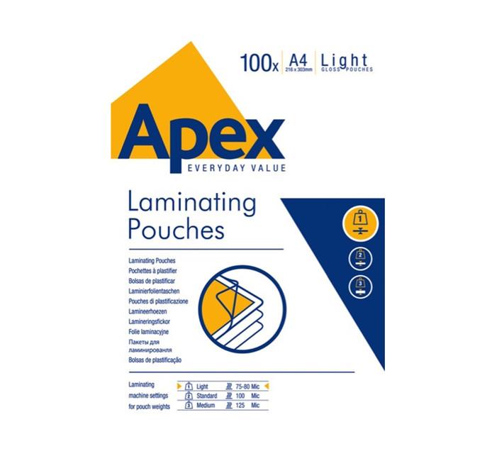 Fellowes Apex A4 Laminating Pouches 75 Micron 100-Pack