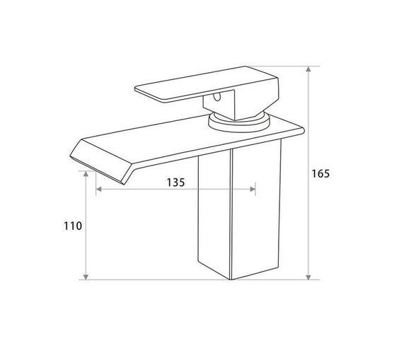 CHROMECATER Basin Mixer Short Wide Flat Spout Brushed S/Steel