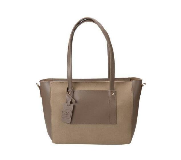 Two Texture Pocket Bag with Purse - Taupe